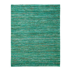 Anji Mountain - Anji Mountain Recycled Cotton Emerald Saree Rug - Emerald Saree Rug belongs to Recycled Cotton Collection by Anji Mountain Stunning color palettes and subtle gradient patterns abound in our Cosmos collection. This flat weave pile is constructed of carefully selected recycled material from vintage Indian sarees. Each rug is one of a kind and offers a unique juxtaposition of tradition, elegance and sustainability. Rug (1)