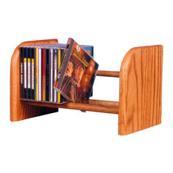 CD Racks - Solid Oak 1 Row Dowel CD Rack - Handcrafted by the Wood Shed from durable solid oak hardwood