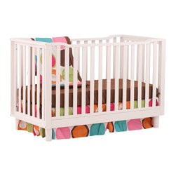 Stork Craft - Stork Craft Santino 3-in-1 Fixed Side Convertible Crib in White - Stork Craft - Cribs - 04567211 - With its rounded legs and contoured rails the Stork Craft Santino 3 in 1 crib has just the right modern touch to grow with your baby in style!
