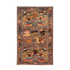 """ALRUG - Handmade Slate/Blue Oriental Tribal Pictorial Rug 6' x 9' 9"""" (ft) - This Afghan Pictorial design rug is hand-knotted with Wool on Wool."""