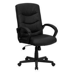 Flash Furniture - Mid-Back Black Leather Office Chair - Affordable leather computer chair will provide you with the comfort needed for browsing the internet. The mid-back design makes it a perfect desk chair especially for smaller work spaces/ but still doesn't compromise on its appeal and features.
