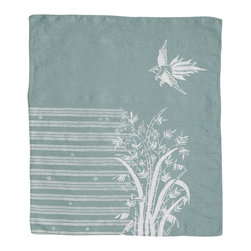 Cricket Radio - Indochine Friendship Hand Towel, Sky/White - Looking to add a little soft color to your kitchen or guest bath? Let this towel give you a hand. It's handmade of Italian linen in several colors and features a bird and bamboo pattern printed with ecofriendly inks. The linen will become even softer and more absorbent over time.