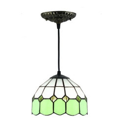 ParrotUncle - Green White Tiffany Glass Pendant Lamps - Green White Tiffany Glass Pendant Lamps