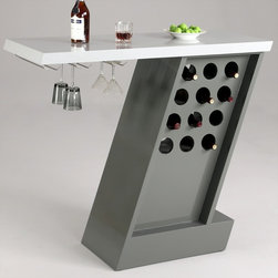 Chintaly Imports - Greenwich Modern Home Bar with Wine Glass Storage Rack - Modern style home bar with light grey top and wine glass rack. Base is Dark Grey and has wine bottle storage.