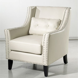 None - Midtown Leather Club Chair - This cream leather club chair has sleek lines and stunning curves that make this a beautiful piece of furniture. It has a removable seat cushion for added comfort,and the hand-applied silver nailhead trim gives it a sense of luxury and elegance.