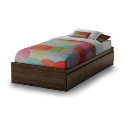 """South Shore - Newton Mate's Bed Box - This shaker-style mate's bed offers three practical drawers for storage. Detail work at the top of the drawers allows them to be opened without handles. No bedspring required. Features: -Mate's bed box.-Three practical drawers.-Secure smart glides drawer slides.-EPP certified panels.-ISTA 3A-certified.-Constructed of engineered wood.-Newton collection.-Distressed: No.-Country of Manufacture: United States.Dimensions: -Drawer interior: 22.5'' W x 14.25'' D.-Interior Drawer Height Top to Bottom: 4.375"""".Assembly: -Assembly required.Warranty: -Manufacturer provides a 5 years warranty."""