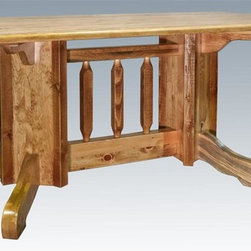 Montana Woodworks - 72 in. Double Pedestal Dining Table - Handcrafted. Rustic timber frame design. Heirloom quality. U.S. grown pine edge-glued tabletop. Seats six comfortably. Made from solid U.S. grown wood. Stained and lacquered finish. Made in USA. Minimal assembly required. 72 in. L x 40 in. W x 30 in. H (172 lbs.). Warranty. Use and Care InstructionsYour family dinners and entertaining will be subtly improved by the charm and allure of this family sized table.