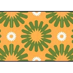 Casart coverings - Spinwheel, Green/Orange/White Wallcoverings, Green/Orange/White, Small Roll (37 - Add some Marrakesh style to your home dcor with this Moroccan-inspired collection of faux tile patterns.