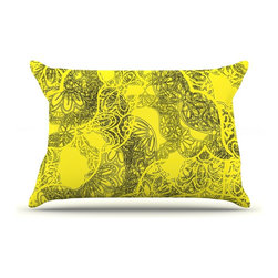 "Kess InHouse - Patternmuse ""Mandala Lemon"" Yellow Pillow Case, Standard (30"" x 20"") - This pillowcase, is just as bunny soft as the Kess InHouse duvet. It's made of microfiber velvety fleece. This machine washable fleece pillow case is the perfect accent to any duvet. Be your Bed's Curator."