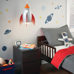 Rocket Suspension Light - Fun and friendly child's light fixture made of child safe materials and include an energy efficient light bulb.  This rocket can grow with your child.  Shown in a childs bedroom but can also be a fun accent light in a playroom.