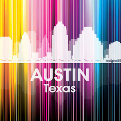 Austin TX Vertical Lined Rainbow Print - Celebrate the Austin skyline with this vibrant, graphic digital and photographic layered print. Designer Angelina Vick has created a modern rainbow over the city, that follows a unique vertical trajectory you'll love to showcase on your wall.