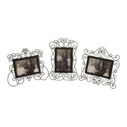 """IMAX - Wire Picture Frames - Set of 3 - Victorian metal wire picture frames Item Dimensions: (8.5-9.5-11""""h x 7.25-9.75-10""""w)"""