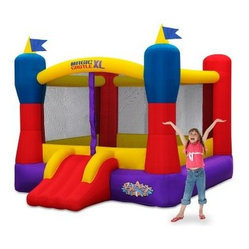 Blast Zone Magic Castle Bounce House XL10 - Storm the castle! Your little prince or princess will love the Blast Zone Magic Castle Bounce House XL10. This colorful castle comes complete with turrets flying flags and a super bouncy play area. You can rest easy knowing there is a sturdy safety net that completely encloses the bounce area and the whole bounce house is made of interwoven oxford cloth and PVC for supreme safety and durability. It comes ready to inflate with a UL blower handy carrying/storage case and ground stakes to keep it in place. With the Blast Zone Magic Castle inflatable you get the bounce house as well as a UL approved blower carrying case and ground stakes for the blower and bouncer. The whole thing rolls up to about the size of a large sleeping bag for easy storage. To set up the bouncer simply unroll it hook the inflation tube to the blower turn on the blower and stake it down. The blower runs continuously while kids play and air escapes through the seams and fabric. The Magic Castle is designed to accommodate up the 5 kids (or 400 pounds). Inside is a huge 10x10 foot area for plenty of space to bounce! The blower includes a one-year manufacturer's warranty and there is a 90-day warranty on workmanship. They are going to love it. Why Blast Zone? With their main focus on safety Blast zone manufactures the strongest bouncers in the industry and creates the most exciting designs available. Using 100% commercial-grade impact surfaces the material used in Blast Zone's bouncers is nine times stronger than what's used on average inflatables. Bounce floors and slides use large seamless commercial material so they have fewer seams with less chance of separation. Blast Zone bouncers are reinforced in stress areas to make them twice as durable as typical inflatables and they use X-Weave material with extremely high tensile strength in all directions. Each Blast Zone inflatable is inspected seven times during construction to ensure it meets the strictest quality and safety standards. Their safety netting is twice as thick as the industry standard and soft so it won't scratch or cut bouncers. Each Blast Zone product is designed with your child's safety in mind. They incorporate balanced product distribution safe climbing surfaces safe slide heights and more. Finally they provide breathable storage cases. Blast Zone's carrying cases allow moisture to dissipate from inflatables rather than keeping it locked inside leading to mildew. About Blast Zone Blast Zone has been making safe toys for kids all over the world since 1996. For over a decade they've designed and manufactured compliant hazard-free toys for major licensors and retailers including Disney Warner Brothers Dreamworks Marvel Porchlight Entertainment and more. The same principles of quality and safety that have applied to their toys also apply to Blast Zone inflatables. The mission of Blast Zone inflatables is simple: provide safe fun affordable inflatables and make kids dreams come true.