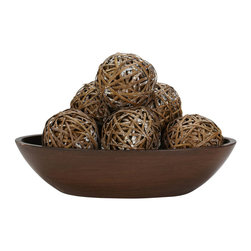 """Nearly Natural - Decorative Balls (Set of 6) - Whoever said that """"less is more"""" clearly never had the chance to liven up a room with these Decorative Balls! The cheerful little spheres can fit into any type of decor, and look great in any kind of environment, from the office to every room in the house. With their unique pattern and design, these cheerful little Decorative Balls will be a sure favorite for years to come. Colors: Brown. Height: 3.75 in; Width: 3.75 in; Depth: 3.75 in."""