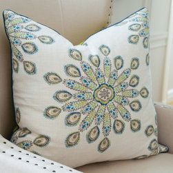 Peacock Pillow - With a bursting peacock feather pattern in cool greens and blues, a solid chartreuse reverse panel, and contrasting blue welt, this pillow makes a lively addition to any solid sofa or chair. Made in the USA.