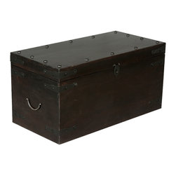 Sierra Living Concepts - Rustic Solid Wood & Wrought Iron Coffee Table Trunk - Long ago people used sturdy wooden trunks instead of suit cases when they traveled for days on ships, trains, and stage coaches. Now you can have a taste of those bygone days with our Traveler Rustic Coffee Table Chest.