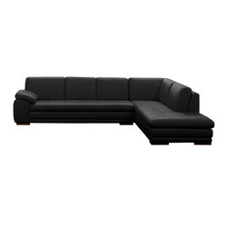 JNM Furniture - 625 Modern Italian Leather Sectional by J&M, Black - Italian Leather sectional sofa set fashionable and stylish in four colors, seats and backs have high density foam to give you extra comfort and support.