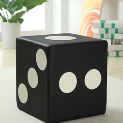Coaster - Black Contemporary Ottoman - Sturdy ottoman made with leather-like vinyl in a dice motif.