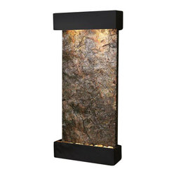 Whispering Creek Wall Fountain, Blackened Copper, Green Solid Slate - The Whispering Creek Wall Fountain is a centerpiece of serenity and beauty of nature that is perfect for your home or office. This fountain brightens up a room with its tranquil, flowing sounds and a feel of being one with nature.