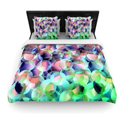 """Kess InHouse - Gabriela Fuente """"Bubbles"""" Purple Green Cotton Duvet Cover (Queen, 88"""" x 88"""") - Rest in comfort among this artistically inclined cotton blend duvet cover. This duvet cover is as light as a feather! You will be sure to be the envy of all of your guests with this aesthetically pleasing duvet. We highly recommend washing this as many times as you like as this material will not fade or lose comfort. Cotton blended, this duvet cover is not only beautiful and artistic but can be used year round with a duvet insert! Add our cotton shams to make your bed complete and looking stylish and artistic!"""