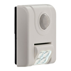 "Other - Contemporary Fulcrum Glow 4-LED White Sensor Night Light - This LED motion-activated sensor light features a white finish ABS plastic housing and a bright 4-LED array. The head rotates to aim light exactly where you need it. Great for hallways stairways closets or utility rooms. No wires or plugs needed; install in minutes with supplied adhesive tape or screws. Energy-efficient LED array never needs replacement; uses AAA batteries (not included). This great Fulcrum Products LED light is a stylish energy-saving way to illuminate your life. Simple modern LED sensor wall light. White finish plastic construction. Motion-activated for hands-free convenience and safety. Includes a 24 lumen 4-LED array. Indoor use only. Head rotates to aim light where you need it. Installs easily with supplied adhesive or screws; remove from cradle to use as a portable light. Energy-efficient LEDs never need replacing. Takes 3 AAA batteries (sold separately). 3 1/3"" high. 2 3/4"" wide. 1 1/4"" deep.  Simple modern LED sensor wall light.  White finish plastic construction.  Motion-activated for hands-free convenience and safety.  Includes a 24 lumen 4-LED array.  Indoor use only.  Head rotates to aim light where you need it.  Installs easily with supplied adhesive or screws; remove from cradle to use as a portable light.  Energy-efficient LEDs never need replacing.  Takes 3 AAA batteries (sold separately).  3 1/3"" high.  2 3/4"" wide.  1 1/4"" deep."