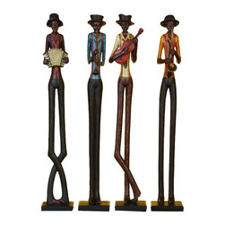 Aspire - African Band 24 in. Statues - These jazz musicians will be a fun addition to your decor. The figurines feature four jazz musicians each playing a different instrument. The tall stature of the musicians adds an artsy touch. Polystone. Color/Finish: Multi-colored. 24 in. H x 4 in. W x 3 in. D. Weight: 8 lbs.