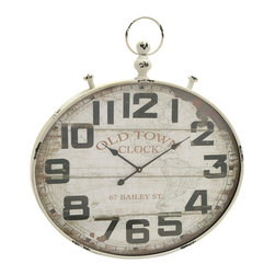 Vintage Styled Metal Wood Wall Clock - Description: