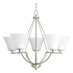 Progress Lighting - Progress Lighting P4623-09 Bravo Five-Light Single-Tier Chandelier with Fluted - From the Bravo Collection, this five light, single tier up lighting chandelier features fluted etched glass shades with simple curves and straight line arms.Features: