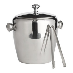 Stainless Steel Ice Bucket With Tongs - This clean modern ice bucket and tongs set has expensive looking style but won't break the bank. It makes a great housewarming, stock the bar or engagement gift (just add ice and a bottle of champagne).