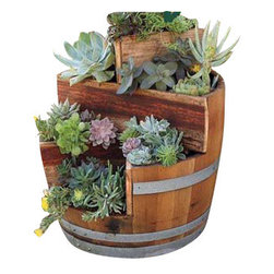 "Master Garden Products - Multi-Tiers Barrel Planter with 2 Triangle Beds, Lacquer Finished, 26""W x 35""H - These unique multi-tiers barrel planters will become the center piece of your garden. 2 Cedar wood triangle beds creates different planting dimensions."