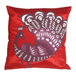 Pillow Decor - Pillow Decor - Proud Peacock Red Throw Pillow - Add a fresh look and a blaze of color with this vibrant peacock pillow. A beautifully designed, screen-printed peacock in purple, mauve and white, struts proudly across the front of the pillow. The back is a solid color panel in the same red polyester blend fabric.