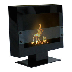 Anywhere Fireplace - Tribeca II Floor Standing Bio-ethanol Fireplace - The simple, elegant design and the beautiful satin black finish of the Tribeca II model Anywhere Fireplace™ on a stand will create a dramatic statement and add architectural interest to any room. Just place it on the floor in any room and your guest will be impressed at the style and sophistication it adds to any décor, traditional to contemporary. Assembles easily in just a few minutes. An additional feature of the Tribeca II  Anywhere Fireplace is that if you would ever want to change it to hang on a wall instead of sitting on the floor, you can purchase the wall  brackets, remove the base and it will easily convert to a wall-mount fireplace.