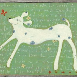 """Sugarboo Designs - Girl Dog - Dogs are so wise. Joyful and charming. Take time to read the encouraging words that make this a perfect and playful wall accent in a child's bedroom or playroom. Framed in a grayish toned raw wood. (SD) Small: 27"""" High x 35"""" Wide Large: 36"""" High x 48"""" Wide"""
