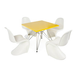 "Vertigo Interiors - Eames Style Kids Square Yellow Table & 4 Kids S Chairs, White Chairs - Vertigo Interiors is proud to present to you the highest quality reproduction of the Kid's Eames Square Table and Kid's Panton S Chairs on the market today. Both stylish and decorative, this set can be used in a playroom, at school, in a nursery, or as a dining set. The tabletop is constructed of high quality ABS plastic with a chrome ""Eiffel"" base and the Panton chair is made of heat molded ABS."