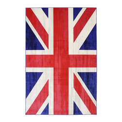 Mohawk - Contemporary Union Jack Area Rug - The Union Jack Jockey Red area rug collection offers an affordable assortment of contemporary stylings. Union Jack Jockey Red features a blend of natural red-cream color. Machine made of polypropylene the Union Jack Jockey Red Collection is an intriguing compliment to any decor.