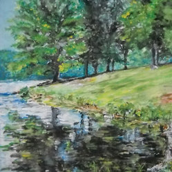 Rock cut state park - A springtime moment captured on canvas of trees reflected in a  body of water. The original artwork by Emily Farmer comes unframed and offers a glimpse of greenery to display in your home or office.