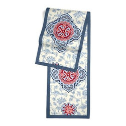 Blue & Red Ribbon-Embellished Medallion Custom Table Runner - Set a table for a king��_or just your family and friends!��_with our gorgeous Tailored Table Runner. Solid edging adds a touch of refinement, perfectly setting off the center fabric. We love it in this intricate sky blue and ruby red ribbon-embellished medallion. It's tradition with a twist.