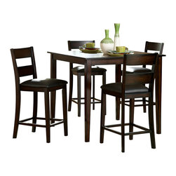 Homelegance - Homelegance Griffin 5-Piece Counter Dining Room Set in Deep Espresso - Class and durability is the first things that come to mind when you see the Griffen 5-Piece Dining Room Set. The dark espresso stains offers multi hued color throughout the whole chair and table ensemble. The designs of the-pieces themselves are stylistically re-enforced by thicker legs and a strong back. A perfect design for the small kitchen of a style conscious condominium owner.