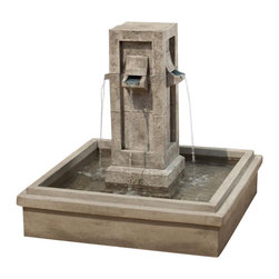 Campania - Pallisades Outdoor Water Fountain, Brown Stone - Enjoy the lovely focal point this exciting Pallisades Fountain will add to your garden setting. Water pours each of the four spouts, falling into the large basin below. Ideal for sitting areas or place it along your garden path as a delightful reminder to enjoy the simple things in life.
