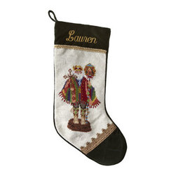 "Horchow - Southwest Santa Needlepoint Stocking, Monogrammed - Exclusively ours. Hand-stitched needlepoint stockings feature some of our favorite Santas and your monogram. Pure wool with rayon trim. 11""W x 18""L. Personalization is name (up to seven characters/spaces) in style and color shown. Dry clean. Im..."