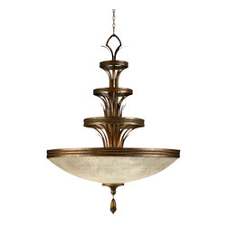 Fine Art Lamps - Fontana Bella Pendant, 523940ST - This handblown glass pendant takes the traditional coupe shape to a dramatic level. The multitiered bronze base adds dimension and visual interest, while the amber-dusted glass casts a warm and romantic hue across your room. It's perfect for an elegant dining room.