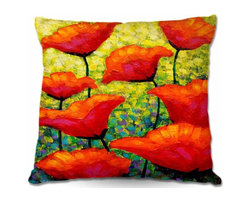 DiaNoche Designs - Pillow Woven Poplin - Mischas Poppies - Toss this decorative pillow on any bed, sofa or chair, and add personality to your chic and stylish decor. Lay your head against your new art and relax! Made of woven Poly-Poplin.  Includes a cushy supportive pillow insert, zipped inside. Dye Sublimation printing adheres the ink to the material for long life and durability. Double Sided Print, Machine Washable, Product may vary slightly from image.