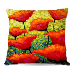 DiaNoche Designs - Pillow Woven Poplin from DiaNoche Designs - Mischas Poppies - Toss this decorative pillow on any bed, sofa or chair, and add personality to your chic and stylish decor. Lay your head against your new art and relax! Made of woven Poly-Poplin.  Includes a cushy supportive pillow insert, zipped inside. Dye Sublimation printing adheres the ink to the material for long life and durability. Double Sided Print, Machine Washable, Product may vary slightly from image.