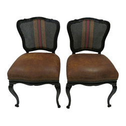 Pair of Gucci-style Black Chairs - Pair of Gucci-inspired side chairs newly reupholstered in a medium brown leather with deocrative nailhead treatment along the bottom of the seats.  The handpainted Gucci-style banner on the wickered backs complete the look. Seat height of 21''