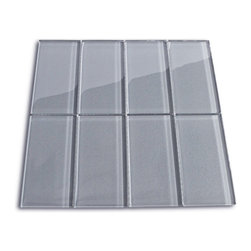 """Subway Tile Outlet - Ice Gray Glass Subway Tile - The Ice Subway Tile is made from the strongest stain-resistant crystal clear glass. These tiles have a 8mm thickness that increases their durability and the depth of their color making them truly beautiful subway tiles. These subway tiles can be used for commercial or residential construction in either a wet or dry environment.    These Subway tiles are sold by the square foot comprised of 8  mesh mounted tiles. The individual tiles measure 3\x6\""""."""""""