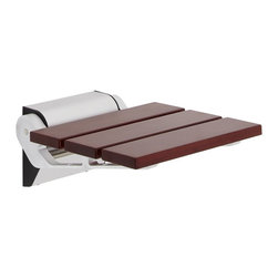 Hudson Reed - Sapele Folding Shower Seat Narrow Base - This luxury wooden shower seat with Sapele finish and aluminium hinges allows you to shower in style and comfort. Featuring a convenient folding design, this sturdy shower seat will complement any bathroom design.