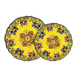 Le Cadeaux - Seville White 16 Plate Melamine Dinnerware Set, Yellow - Triple strength melamine - not microwave safe but dishwasher safe.
