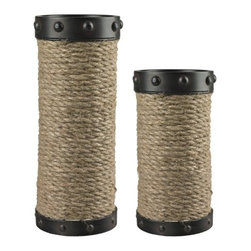 Sterling Industries - Sterling Industries 129-1035 Set of 2 Natural Rope Wrapped Candle Holders - Specifications: