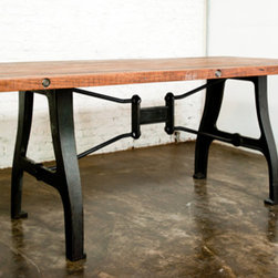 V4 Dining Table - Tungsten Dining Table. Legs formed from solid iron salvaged machine parts.