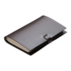 """Pinetti - Large Coffee Elaine Leather Notebook - """"Journal cover designed and handmade in Italy with the best genuine leather and fine Fabriano paper. Endowed with a practical hook closure"""""""